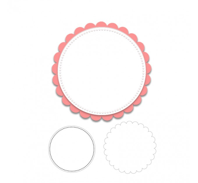 Circle with scallop backing Metal die cuts