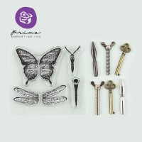 Prima Stamp-n-Add Stamps & Metals Butterfly Wings Embellishment Set