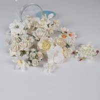 Mulberry Paper Flowers Mix- White