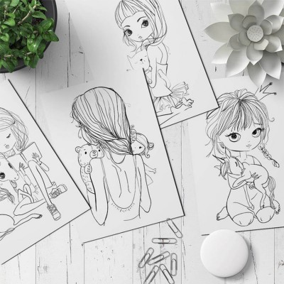 Coloring Cards Pack of 10 Little girl