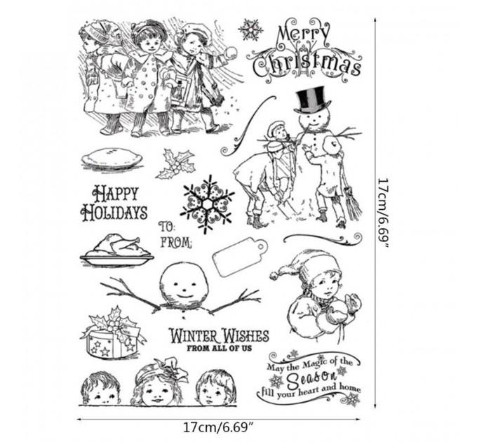 Vintage Christmas clear stamp set