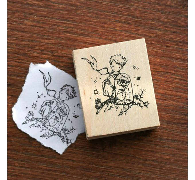 Little prince with rose wood stamp