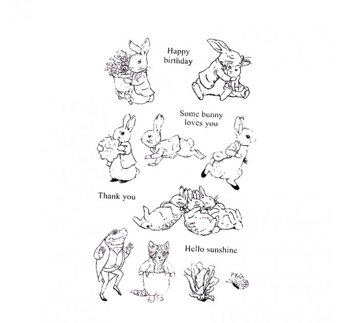 rabbit party silicon Stamps