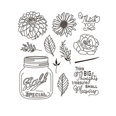 Floral Jar Silicon Stamps